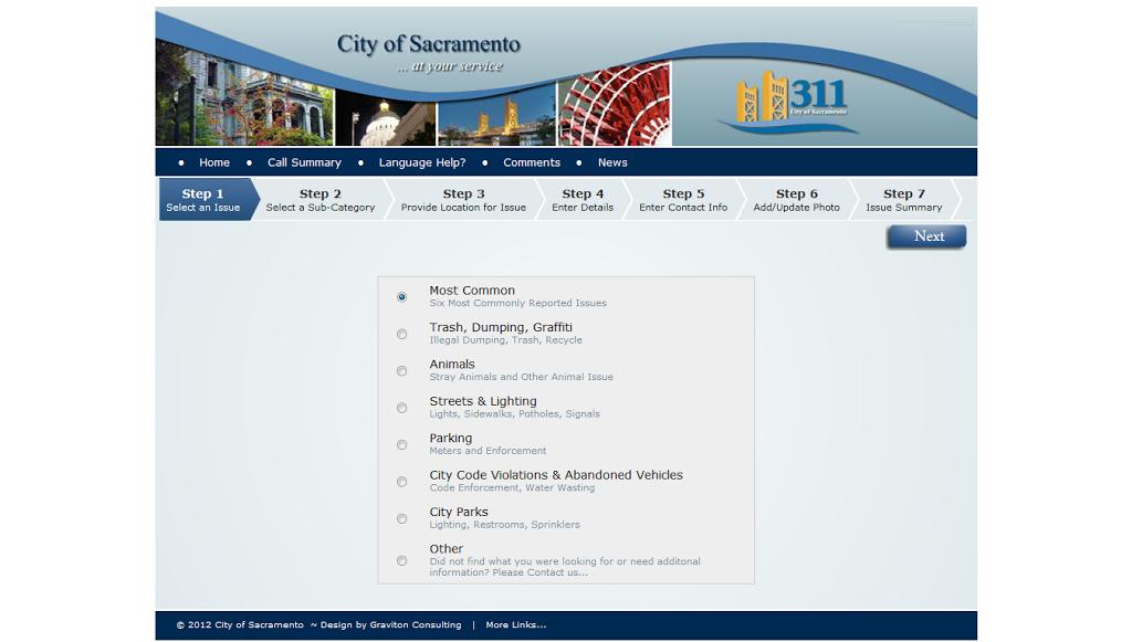 Sacramento 311 webpage